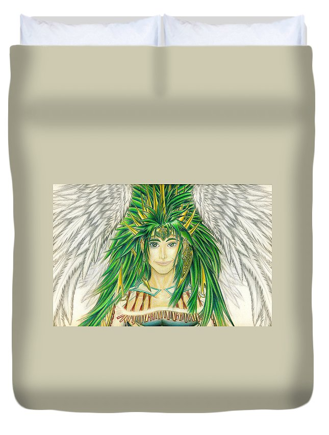 Crai Duvet Cover featuring the painting King Crai'riain Portrait by Shawn Dall