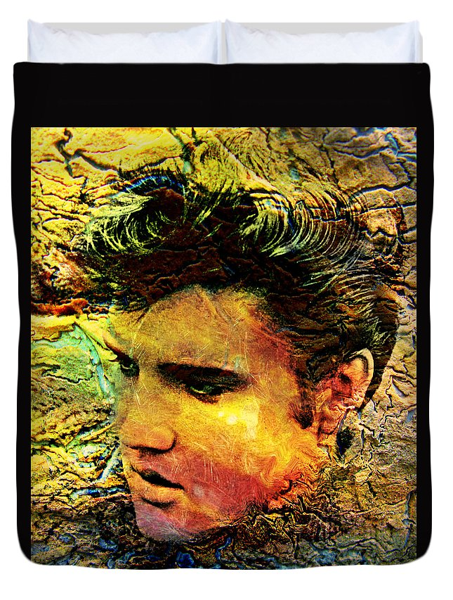 Elvis Presley Duvet Cover featuring the painting King Elvis by Ally White