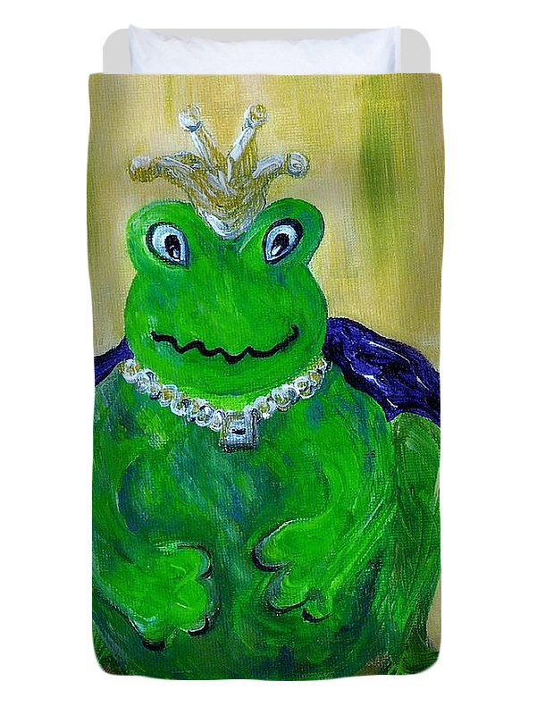 Frog Duvet Cover featuring the painting King For A Day by Eloise Schneider Mote
