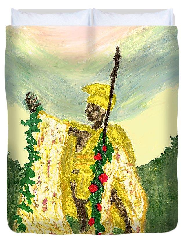 King Kamehameha Festival Duvet Cover featuring the pastel King Kamehameha Festival by William Depaula