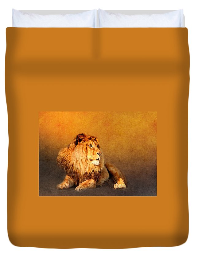 Animal Duvet Cover featuring the mixed media King Leo by Heike Hultsch