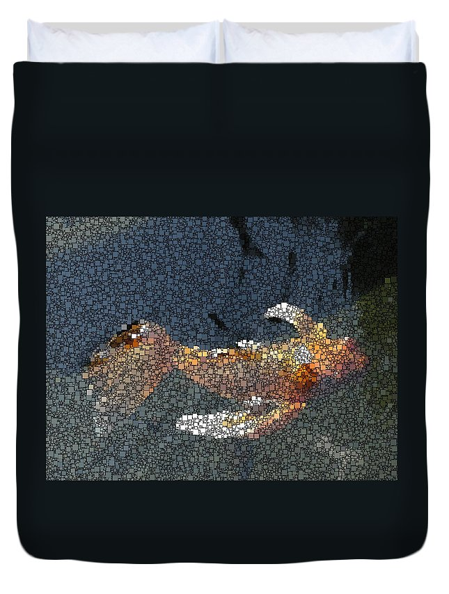 Abstract Duvet Cover featuring the digital art King Of The Pond by Tim Allen
