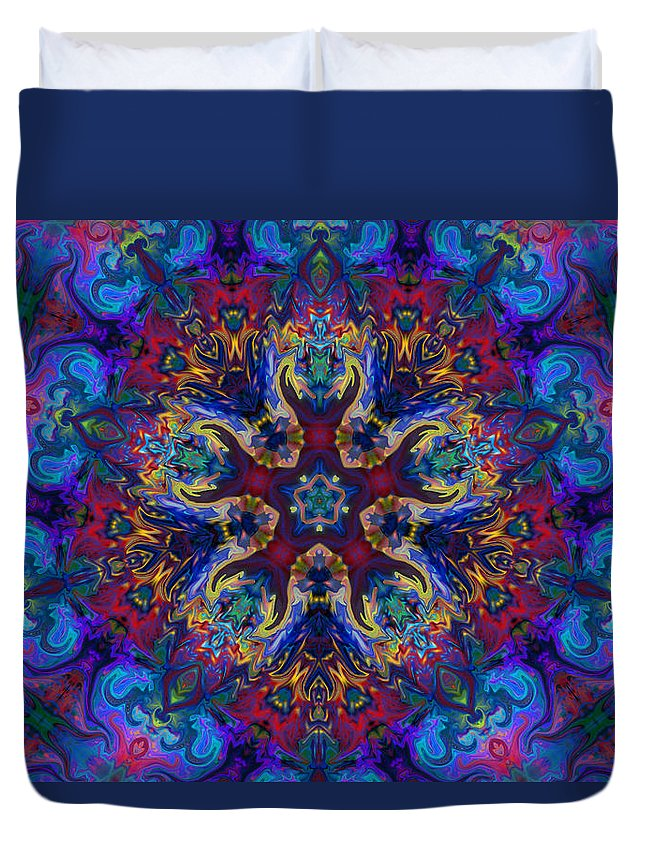 Abstract Duvet Cover featuring the digital art King Of The Universe by Peggy Collins
