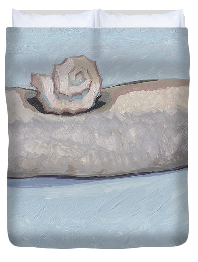 King Duvet Cover featuring the painting King On The Mountain by Richard Glen Smith