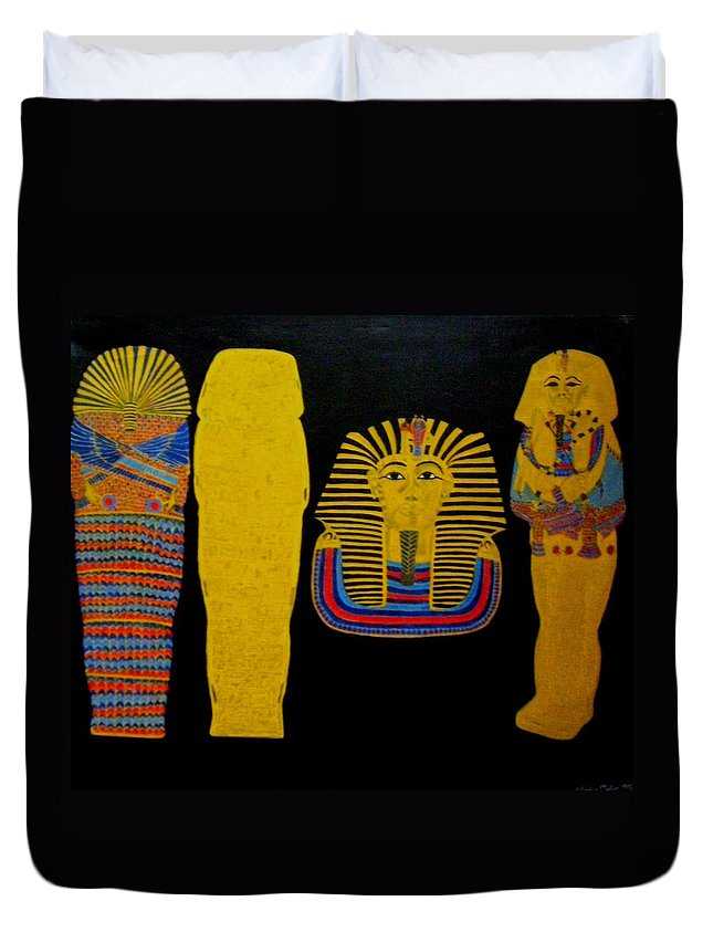 Egypt Duvet Cover featuring the painting King Tut by Leslye Miller