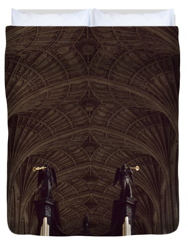 Pipe Organ Duvet Cover featuring the photograph King's College Chapel by David Hohmann