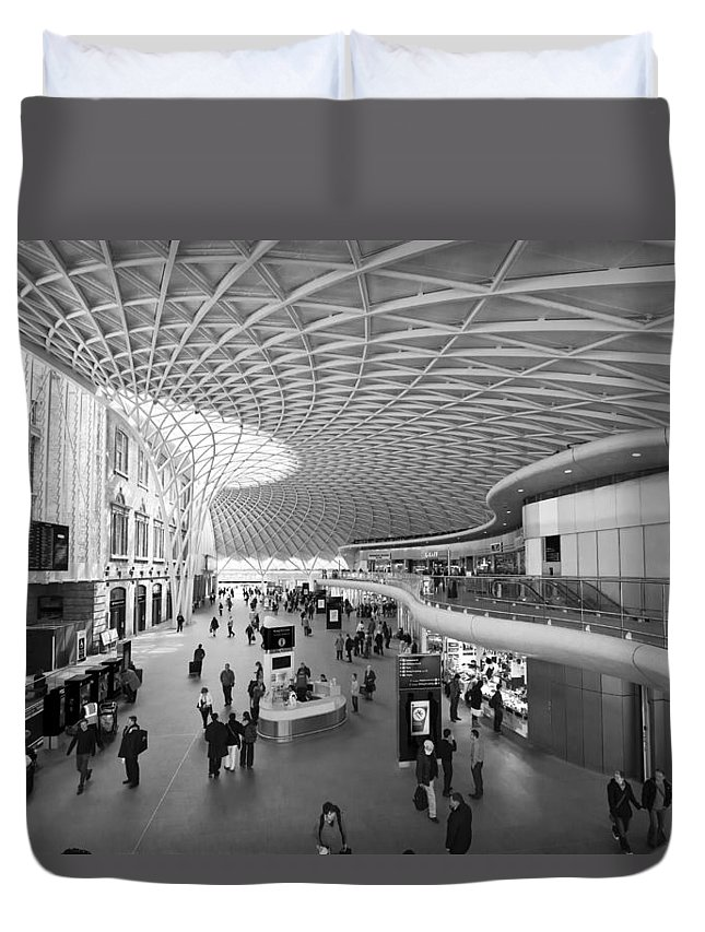 Stations Duvet Cover featuring the photograph Kings Cross Railway Station London Bw by David French