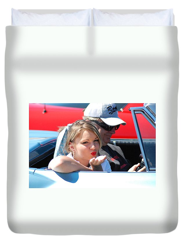 Girl Duvet Cover featuring the photograph Kiss Classic by Optical Playground By MP Ray
