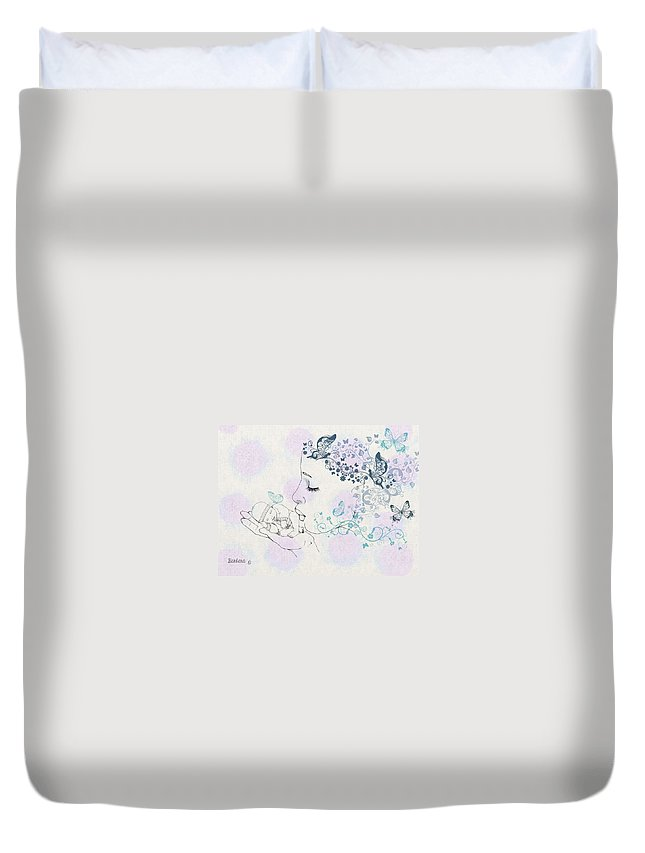 Fairy Duvet Cover featuring the digital art Kiss To A New Born by Barbara Orenya