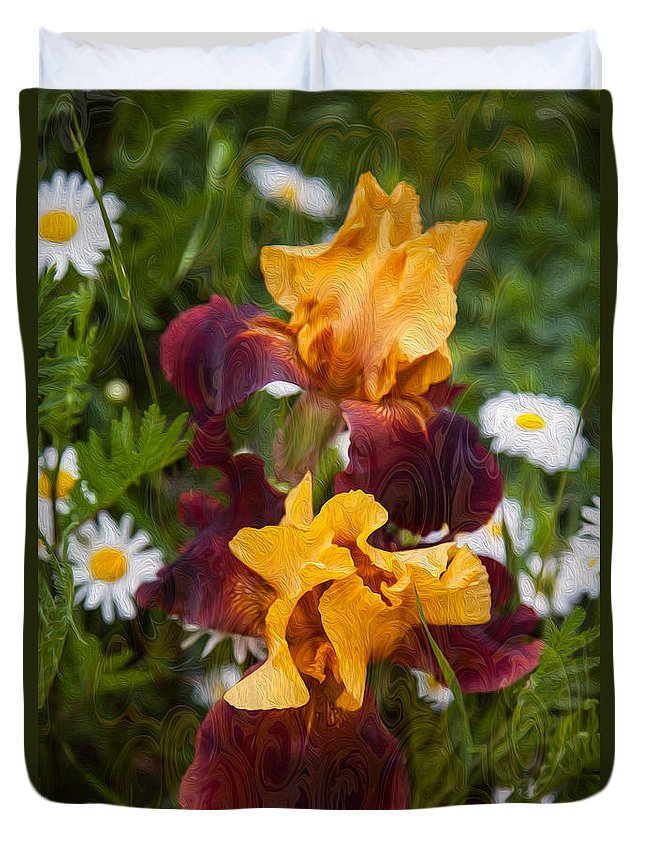 North Cascades Duvet Cover featuring the painting Kissing Sunshine by Omaste Witkowski