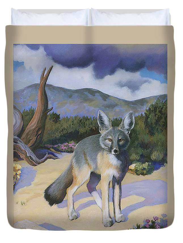 Fox Duvet Cover featuring the painting Kit Fox by Susan McNally