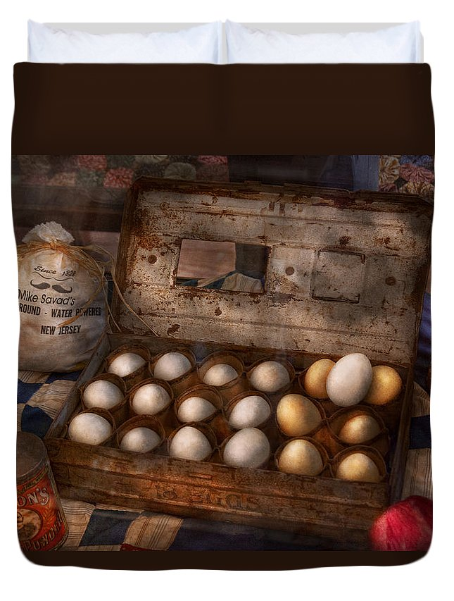 Savad Duvet Cover featuring the photograph Kitchen - Food - Eggs - 18 Eggs by Mike Savad