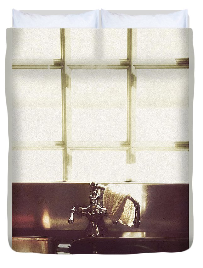 House Duvet Cover featuring the photograph Kitchen Sink by Margie Hurwich