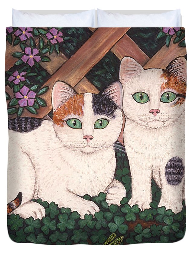Cats Duvet Cover featuring the painting Kittens And Clover by Linda Mears
