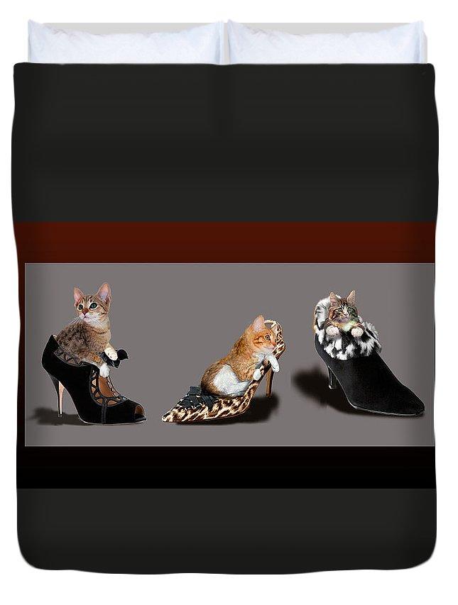 Kittens In Designer Ladies Shoes Duvet Cover featuring the painting Kittens In Designer Ladies Shoes by Regina Femrite
