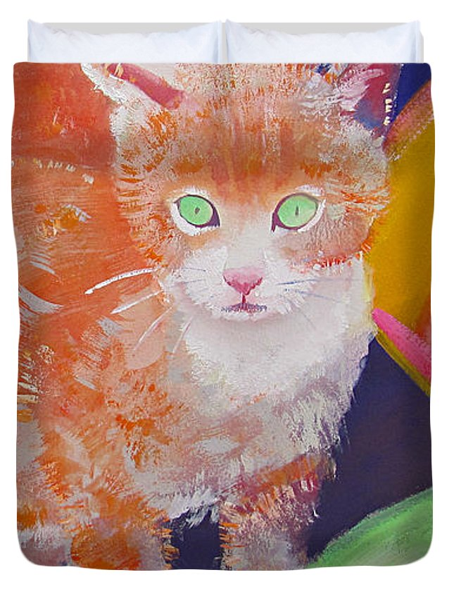 Kittens Duvet Cover featuring the painting kittens With A Ball of Wool by Charles Stuart