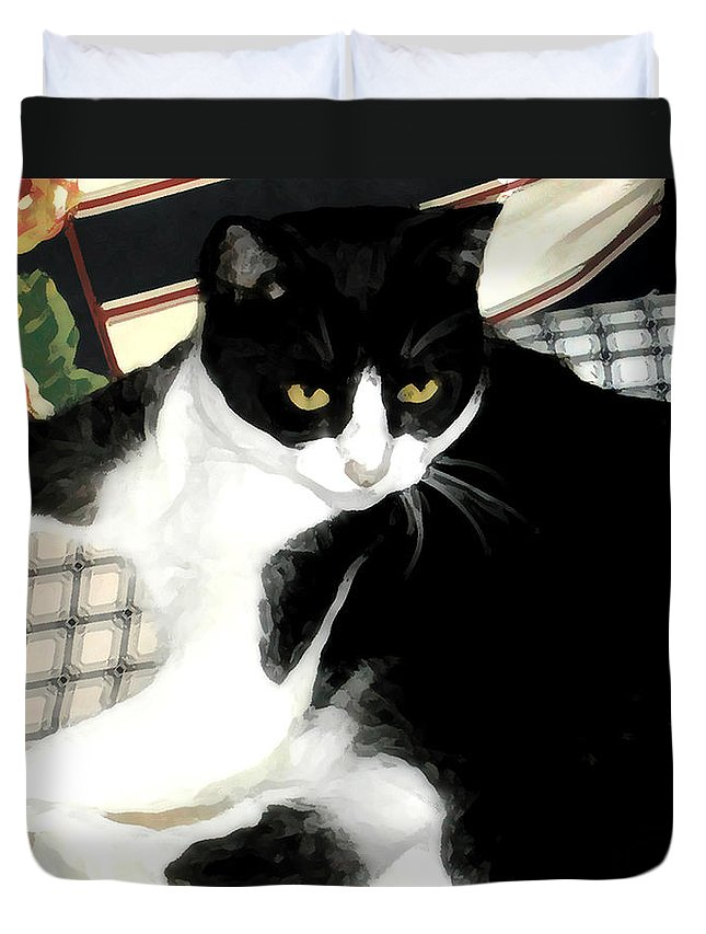 Black And White Duvet Cover featuring the photograph Kitty On His Perch by Jeanne A Martin