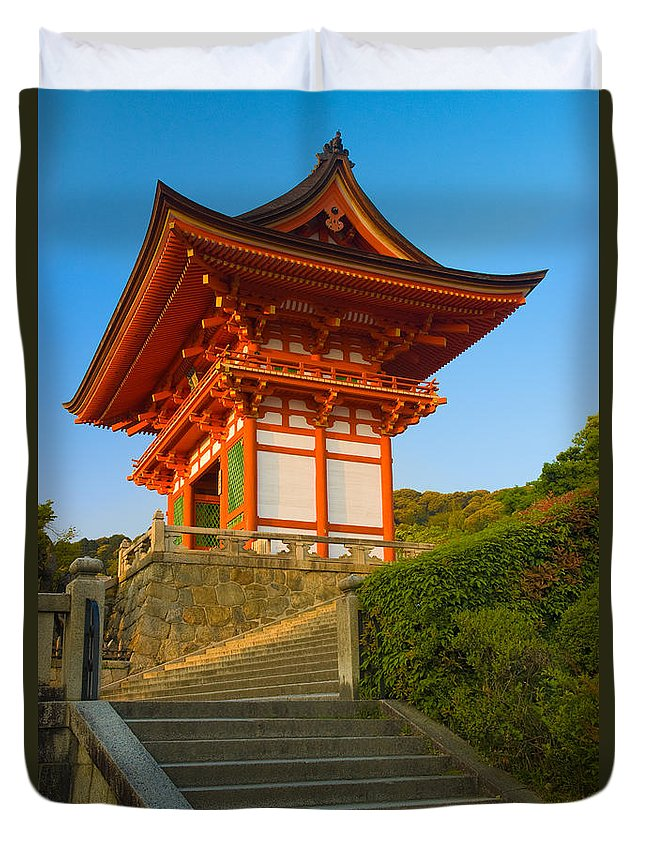 Pagoda Duvet Cover featuring the photograph Kiyomizudera Temple by Sebastian Musial