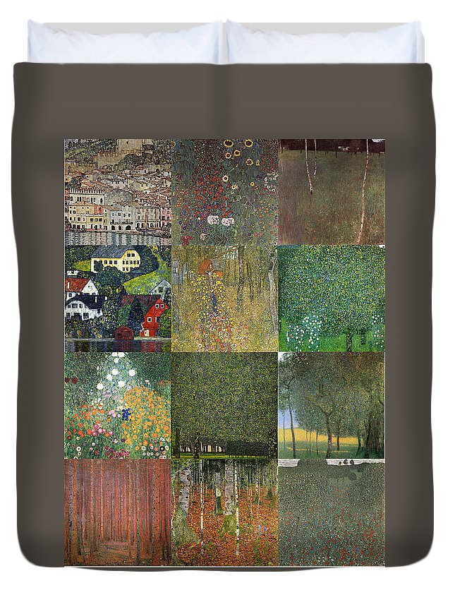 Klimt Duvet Cover featuring the painting Klimt Landscapes Collage by Philip Ralley