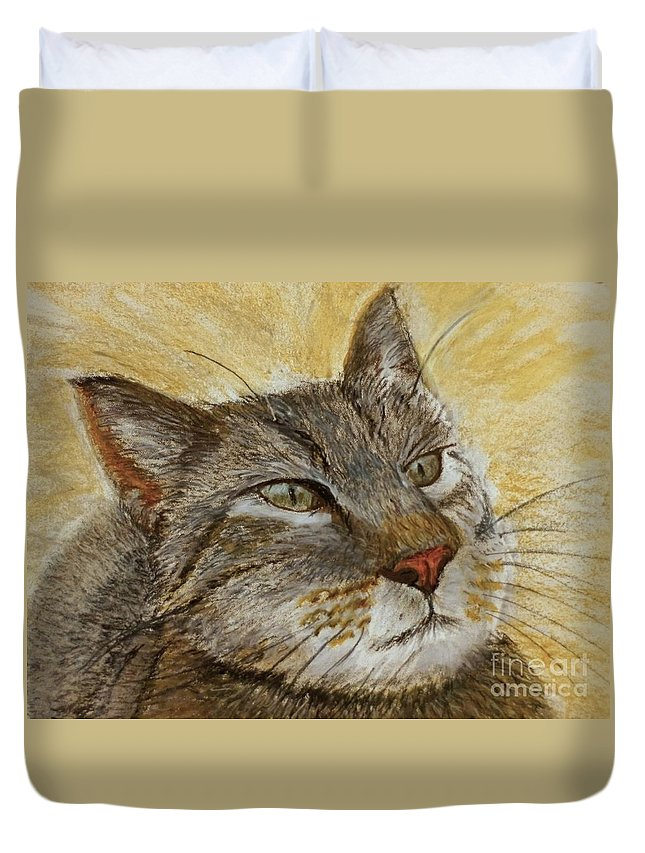 Oil Pastel Duvet Cover featuring the pastel Knowing Look Of Wisdom by Lance Sheridan-Peel