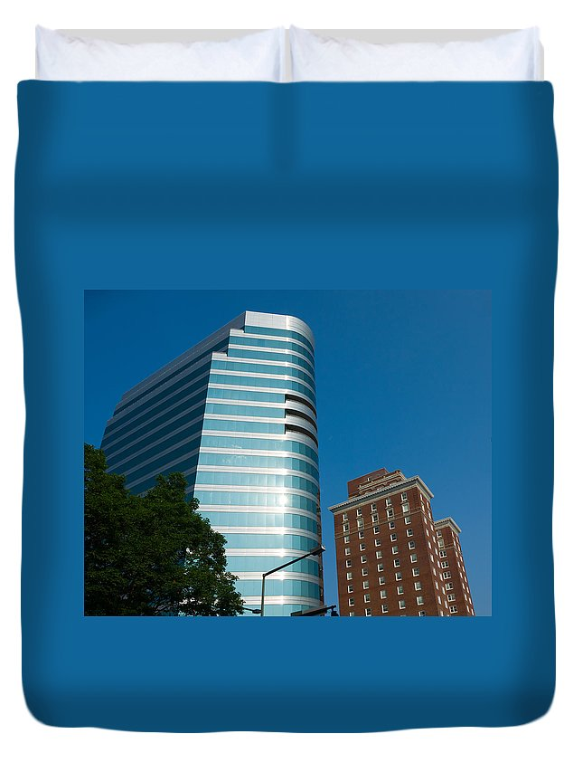 New Duvet Cover featuring the photograph Knoxville Buildings by Melinda Fawver