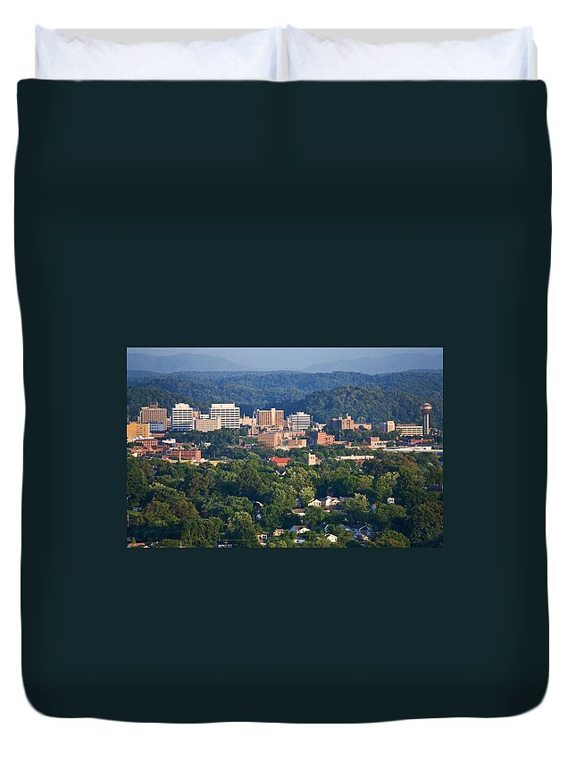 Skyline Duvet Cover featuring the photograph Knoxville Skyline In Summer by Melinda Fawver