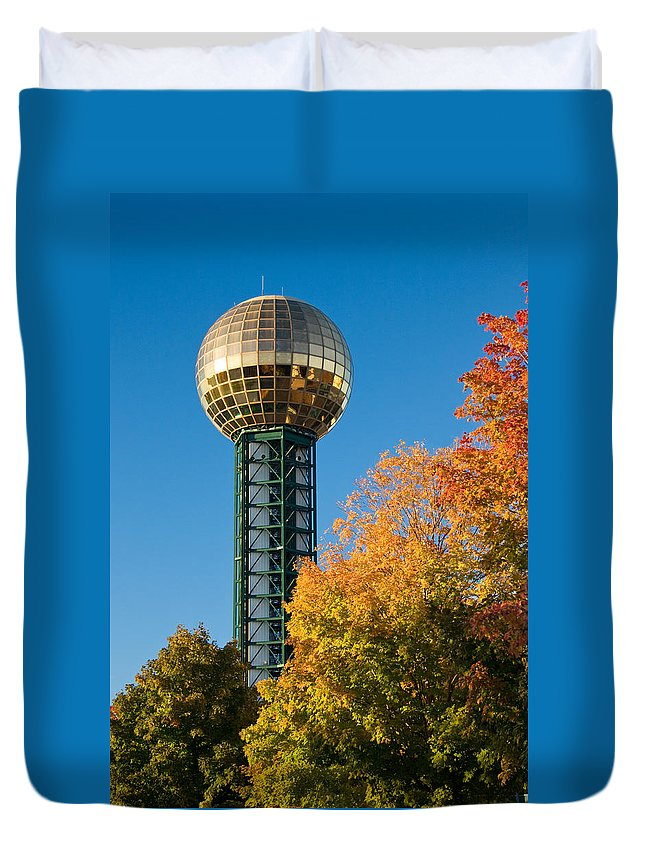 Knoxville Duvet Cover featuring the photograph Knoxville Sunsphere In Autumn by Melinda Fawver