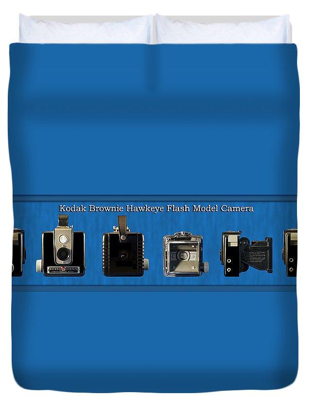 Kodak Duvet Cover featuring the photograph Kodak Brownie Hawkeye Camera by Thomas Woolworth