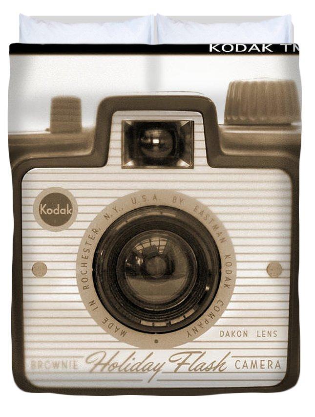 Vintage Kodak Duvet Cover featuring the photograph Kodak Brownie Holiday Flash by Mike McGlothlen
