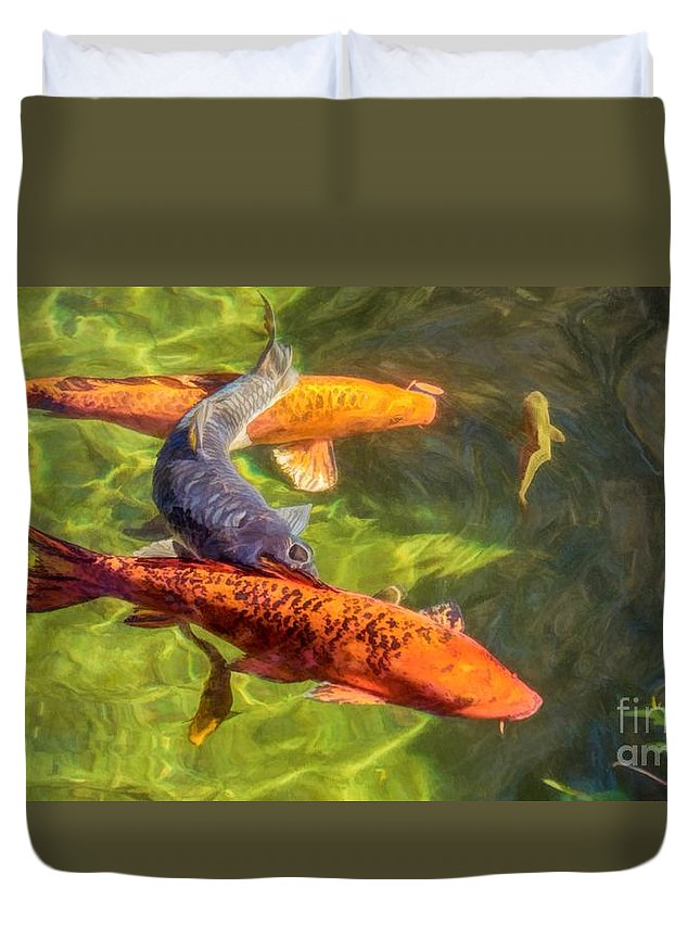 Pond Duvet Cover featuring the photograph Koi by Peggy Hughes