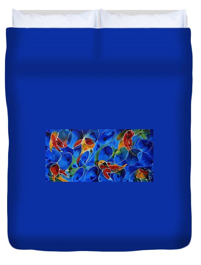 Koi Duvet Cover featuring the painting Koi Pond 2 - Liquid Fish Love Art by Sharon Cummings