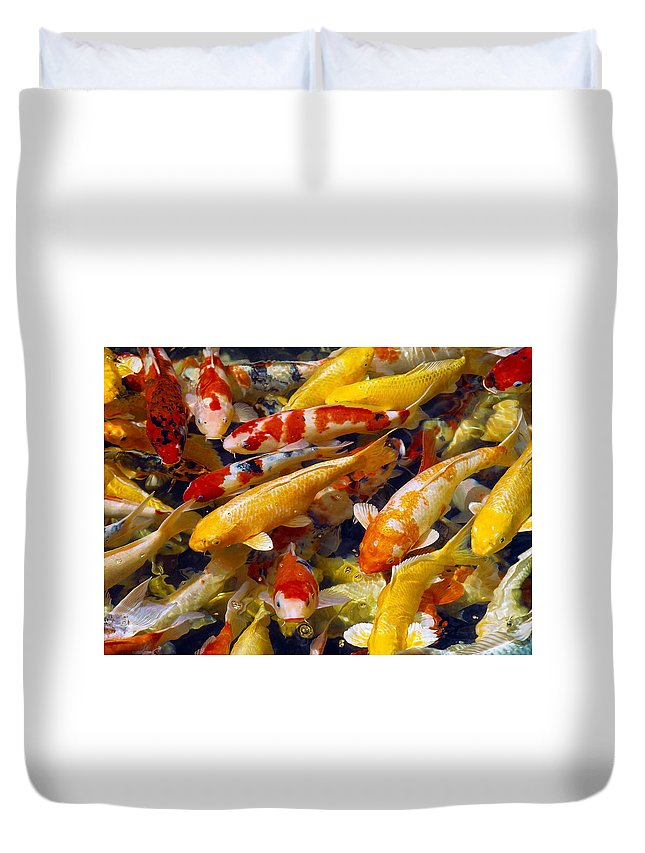 Koi Duvet Cover featuring the photograph Koi Pond 2 by Marie Hicks