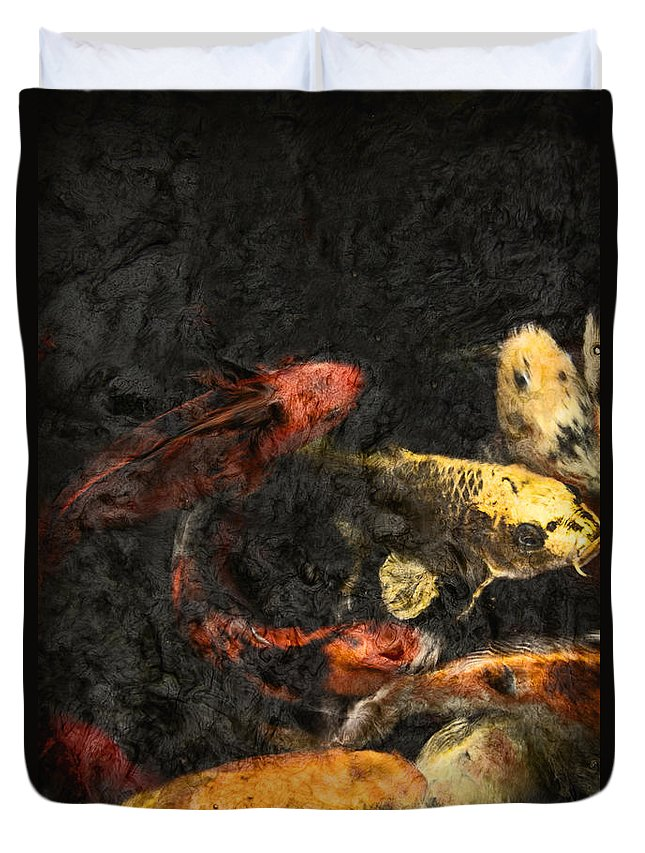 Fish Duvet Cover featuring the photograph Koi Pond by Margie Hurwich