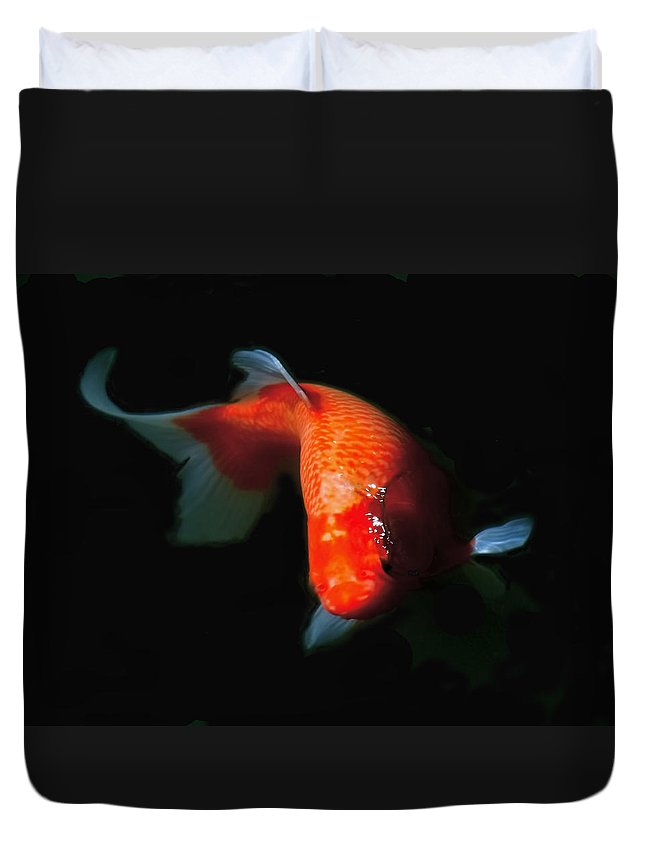 Koi Duvet Cover featuring the photograph Koi by Rona Black