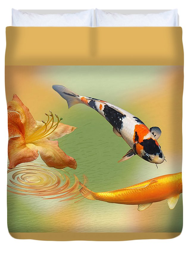 Fish Duvet Cover featuring the photograph Koi With Azalea Ripples Dreamscape by Gill Billington
