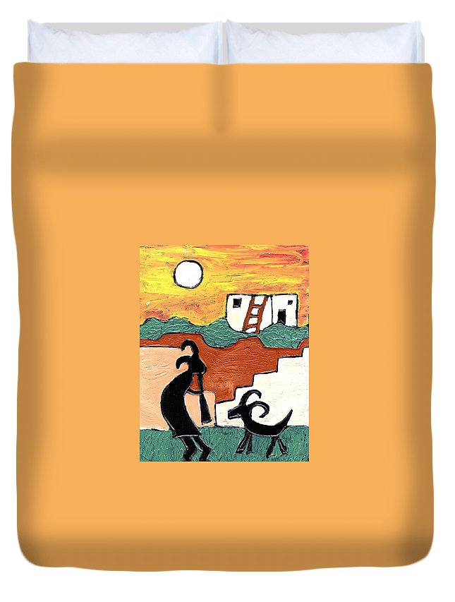 Kokopeli Duvet Cover featuring the painting kokopeli at the Pueblo by Wayne Potrafka