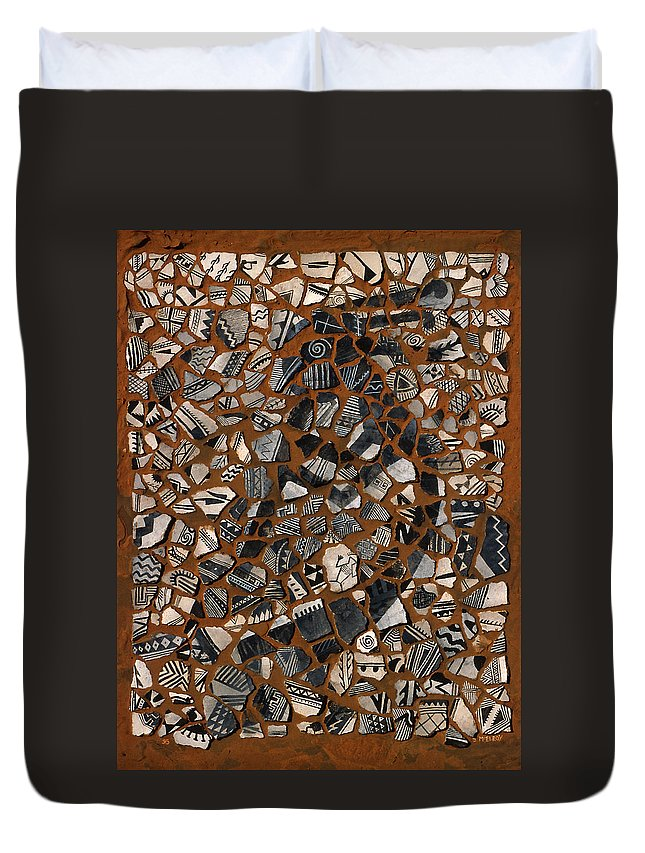 Pot Shards Duvet Cover featuring the relief Kokopelli by Jerry McElroy