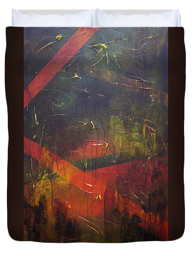 Abstract Duvet Cover featuring the painting Komposition z by Sergey Bezhinets