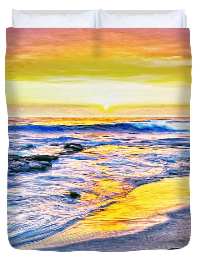 Kona Coast Sunset Duvet Cover featuring the painting Kona Coast Sunset by Dominic Piperata