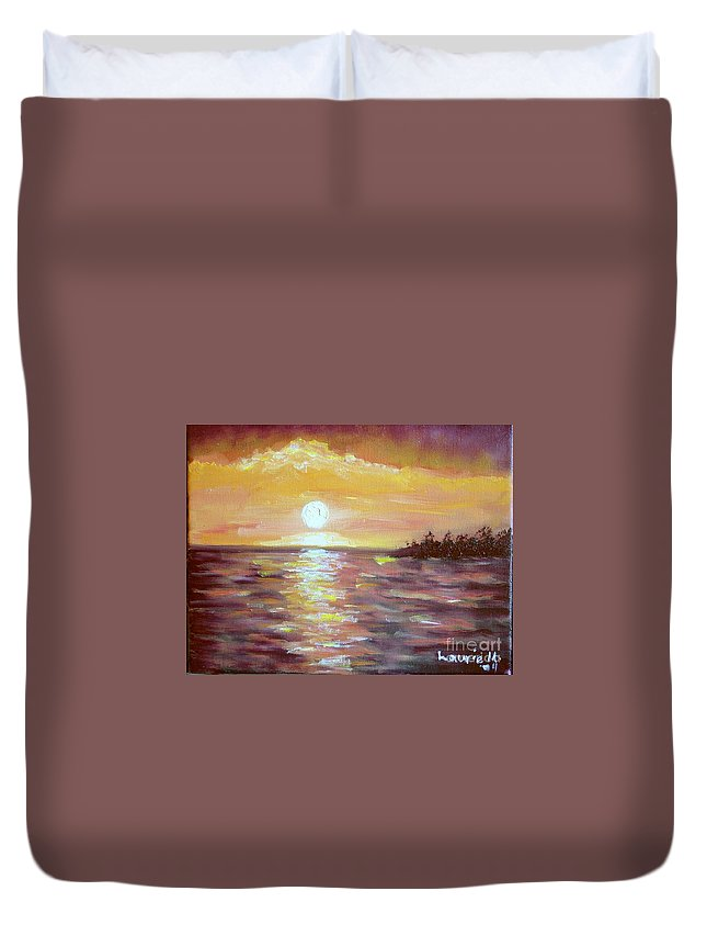 Sunset Duvet Cover featuring the painting Kona Sunset by Laurie Morgan