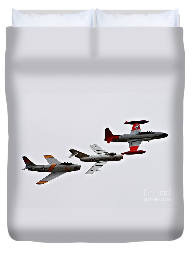 North American F86 Sabre Duvet Cover featuring the photograph Korean War Flight by Tommy Anderson
