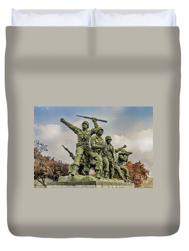 Korean War Memorial Duvet Cover featuring the painting Korean War Veterans Memorial South Korea by Bob and Nadine Johnston