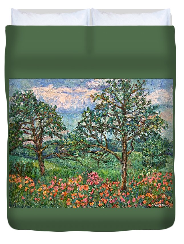 Landscape Duvet Cover featuring the painting Kraft Avenue in Blacksburg by Kendall Kessler