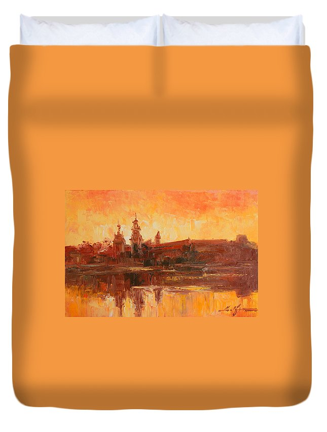 Wawel Duvet Cover featuring the painting Krakow - Wawel Impression by Luke Karcz