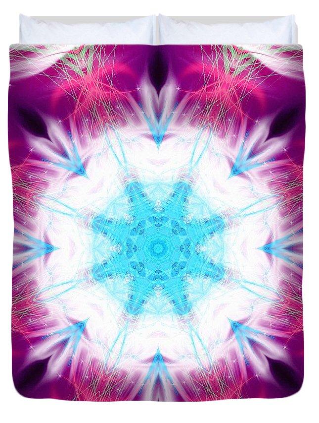 Sacredlife Mandalas Duvet Cover featuring the digital art Krystal Moonlight by Derek Gedney