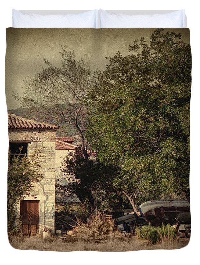 Mediterranean Duvet Cover featuring the photograph Kucuk Ev by Zapista