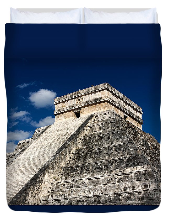 Ancient Duvet Cover featuring the photograph Kukulkan Pyramid At Chichen Itza by Jannis Werner