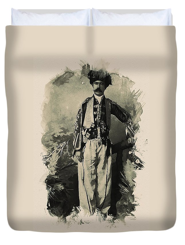 Kurdish Tribal Leader Duvet Cover featuring the painting Kurdish Tribal Leader by MotionAge Designs