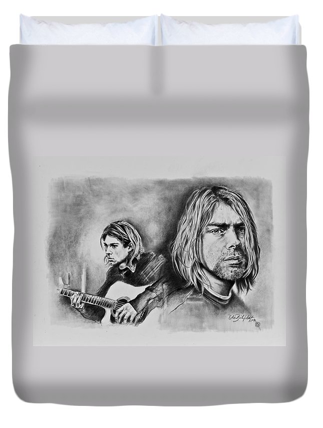Kurt Cobain Duvet Cover featuring the drawing Kurt Cobain by Art Imago