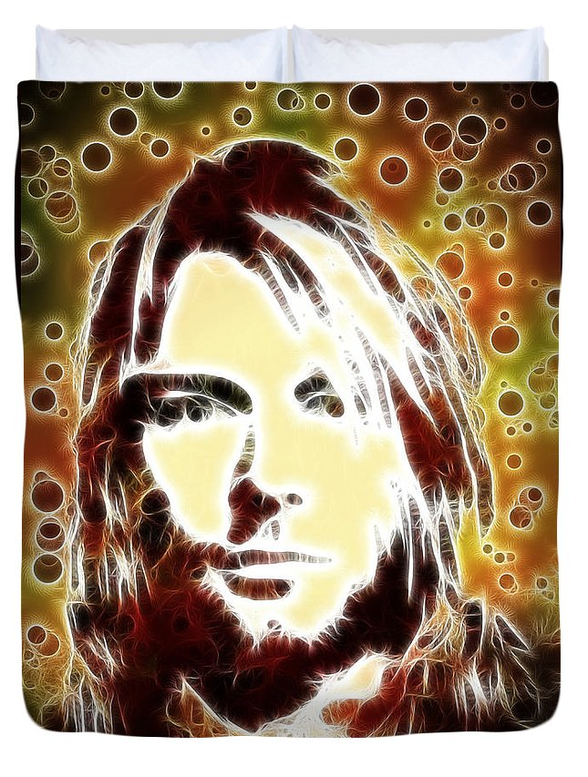 Kurt Cobain Duvet Cover featuring the painting Kurt Cobain Digital Painting by Georgeta Blanaru